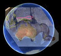 Image of upside-down camel with humps in line with coast of Australia, and outline of area in Malaysia shaped like an eye of needle